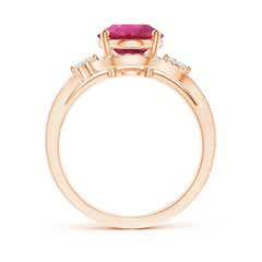 Toggle Oval Pink Tourmaline Bypass Ring with Diamond Accents