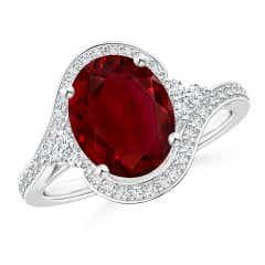 Oval Ruby and Diamond Bypass Halo Ring (GIA Certified Ruby)