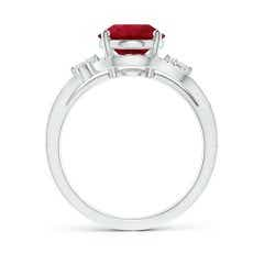 Toggle GIA Certified Oval Ruby Bypass Ring with Diamond Accents