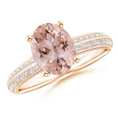 Classy Knife Edge Morganite Solitaire Ring with Pave Diamonds
