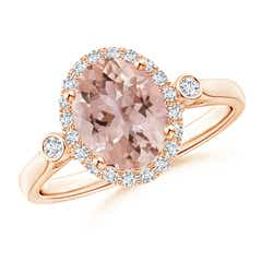 Classic Oval Morganite and Diamond Halo Ring with Bezel Accents