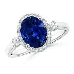 GIA Certified Oval Blue Sapphire Ring with Diamond Accents