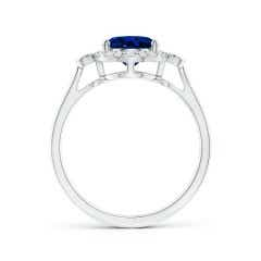 Toggle GIA Certified Oval Blue Sapphire Ring with Diamond Accents
