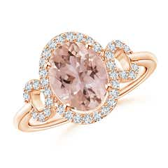 Oval Morganite Scroll Ring with Diamond Halo