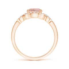 Toggle Oval Morganite Scroll Ring with Diamond Halo