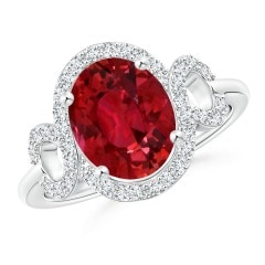 GIA Certified Oval Ruby Scroll Ring with Diamond Halo