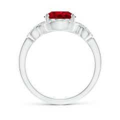 Toggle GIA Certified Oval Ruby Scroll Ring with Diamond Halo
