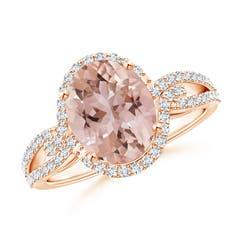 Oval Morganite Split Shank Ring with Diamonds