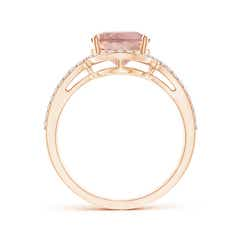 Toggle Oval Morganite Split Shank Ring with Diamond Halo