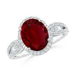 GIA Certified Oval Ruby Split Shank Ring with Diamond Halo