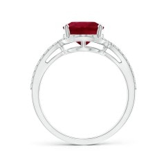 Toggle GIA Certified Oval Ruby Split Shank Ring with Diamond Halo