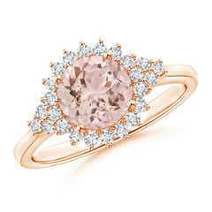 Classic Morganite Engagement Ring with Floral Halo