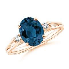 Angara Square London Blue Topaz Ring with Diamond Studded Shank 4EHn1S