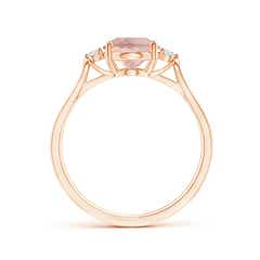 Toggle Oval Morganite Loop Shank Ring with Tiny Diamonds