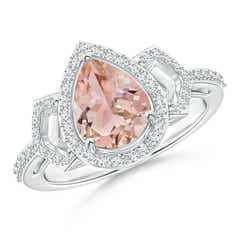 Pear Shaped Morganite and Diamond Buckle Ring