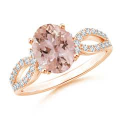 Solitaire Oval Morganite and Diamond Crossover Ring