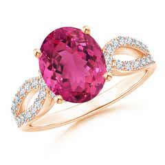 Oval Pink Tourmaline and Diamond Split Shank Ring