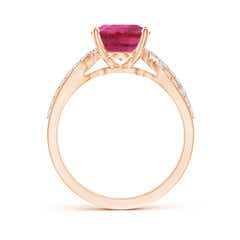 Toggle Oval Pink Tourmaline and Diamond Split Shank Ring
