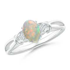 Solitaire Oval Opal Split Shank Ring with Trio Diamonds