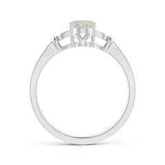 Toggle Solitaire Oval Opal Split Shank Ring with Trio Diamonds