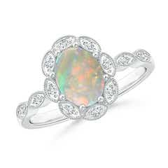 Oval Opal Halo Ring with Milgrain