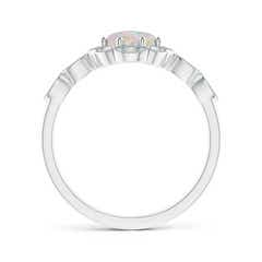 Toggle Oval Opal Halo Ring with Milgrain