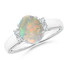 Oval Shaped Opal Solitaire Ring with Diamond Accents