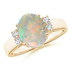 Oval-Shaped Opal Solitaire Ring with Diamond Accents