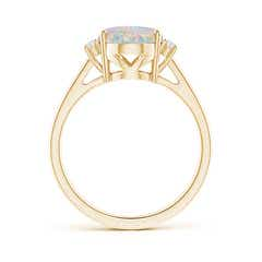 Toggle Oval-Shaped Opal Solitaire Ring with Diamond Accents