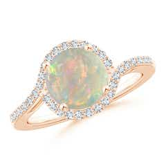 Bypass Round Opal and Diamond Halo Ring