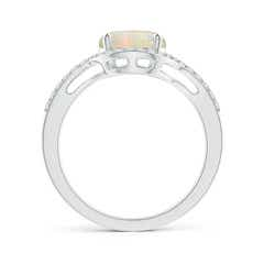 Toggle Bypass Round Opal and Diamond Halo Ring