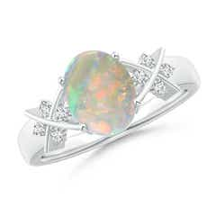 Solitaire Oval Opal Criss Cross Ring with Diamonds