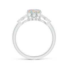 Toggle Solitaire Oval Opal Criss Cross Ring with Diamonds