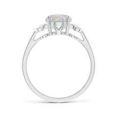 Toggle Solitaire Oval Opal and Diamond Collar Ring