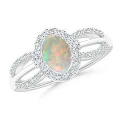 Floating Oval Opal Triple Split Shank Engagement Ring