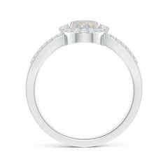 Toggle Floating Oval Opal Triple Split Shank Engagement Ring