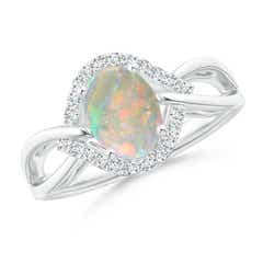 Oval-Shaped Opal Entangled Split Shank Ring with Diamond Halo