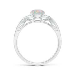 Toggle Oval-Shaped Opal Entangled Split Shank Ring with Diamond Halo