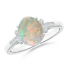 Angara Solitaire Oval Cabochon Opal Diamond Floral Accent Ring Platinum