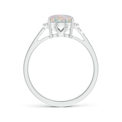 Toggle Classic Solitaire Oval Opal and Diamond Collar Ring