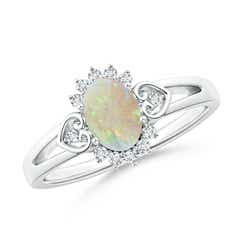 Vintage Oval Opal and Diamond Halo Ring with Scroll Heart-Motifs