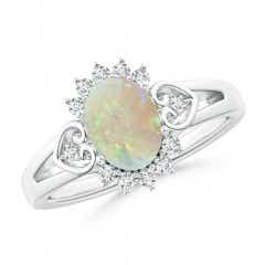 Vintage Inspired Oval Opal Halo Ring with Heart Motifs