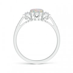 Solitaire Oval Opal Cathedral Ring with Diamond Accents