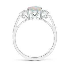 Toggle Solitaire Oval Opal Cathedral Ring with Diamond Accents