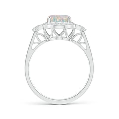 Toggle Victorian Style Oval Opal and Diamond Halo Engagement Ring
