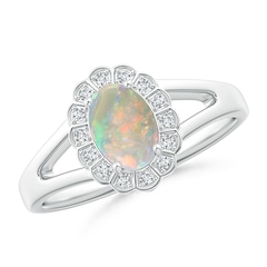 Scallop-Edged Oval Opal Split Shank Ring with Diamond Halo