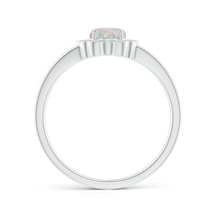 Toggle Scallop-Edged Oval Opal Split Shank Ring with Diamond Halo