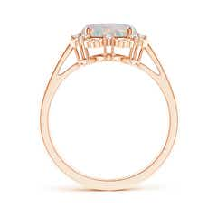 Toggle Vintage Style Oval Opal and Diamond Scroll Engagement Ring