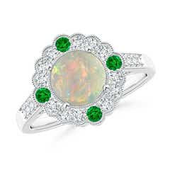 Art Deco Inspired Opal and Diamond Halo Ring with Milgrain