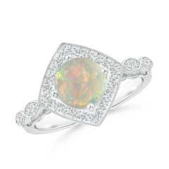 Vintage Style Opal and Diamond Cushion Halo Ring